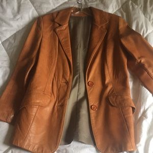 Camel soft Leather fitted jacket